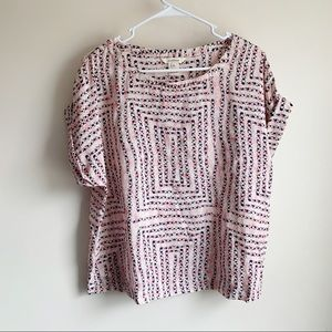 Sundance Silk Pink Patterned Roll Sleeve Blouse